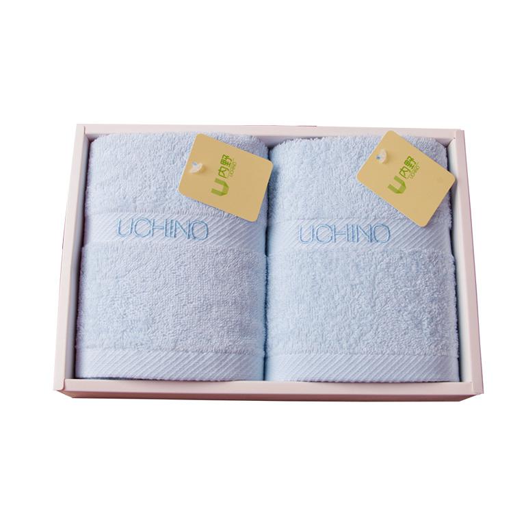 日本内野(UCHINO)毛巾家纺 素色绣字二件套毛巾礼盒
