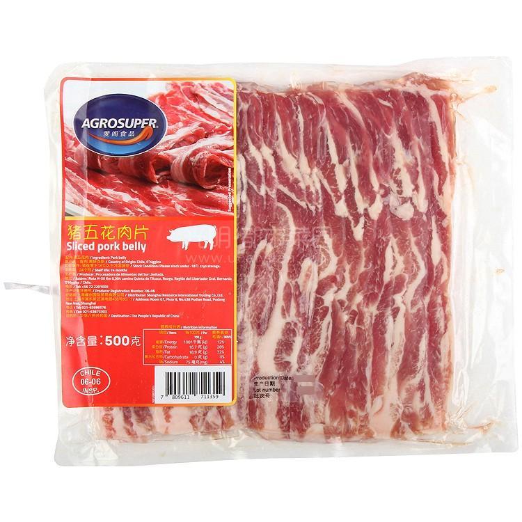 爱阁食品 猪五花肉片 500g