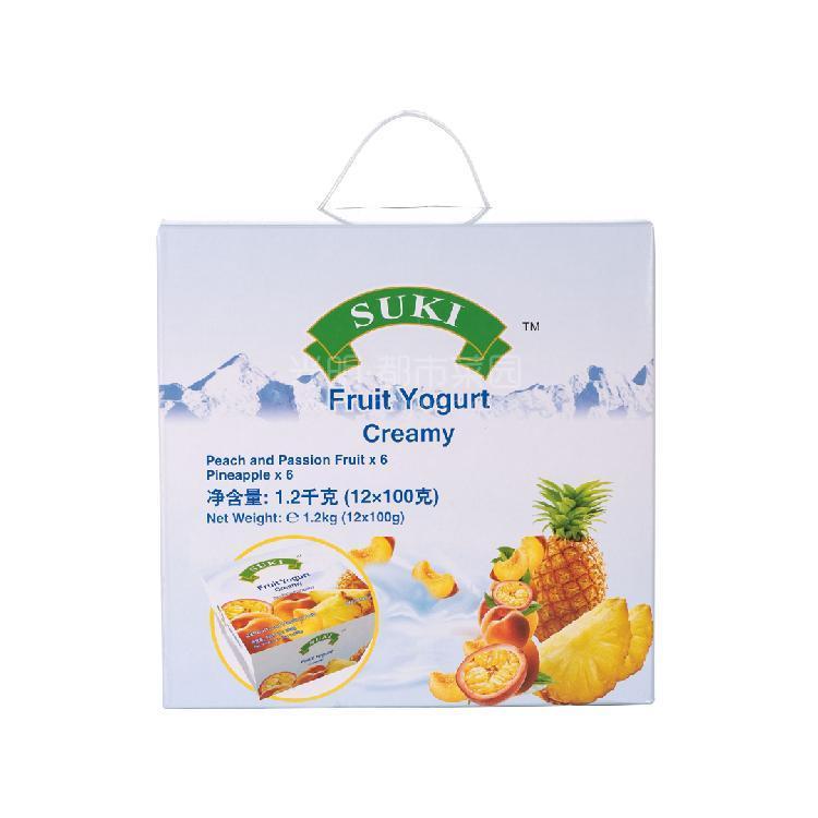 多美鲜 全脂果粒酸奶礼盒-桃果粒+西番莲汁/菠萝果粒  1200g