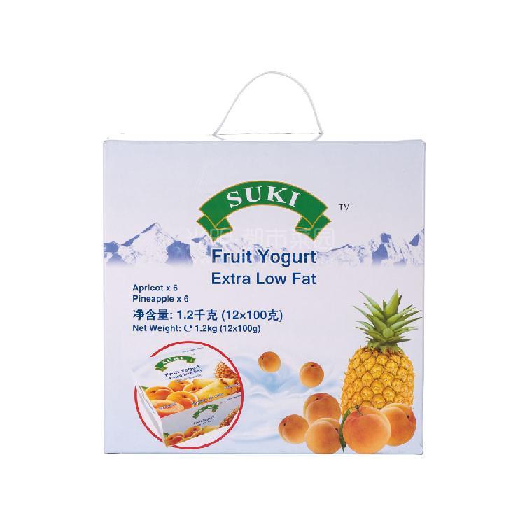 多美鲜 脱脂果粒酸奶礼盒-杏果粒/菠萝果粒  1200g