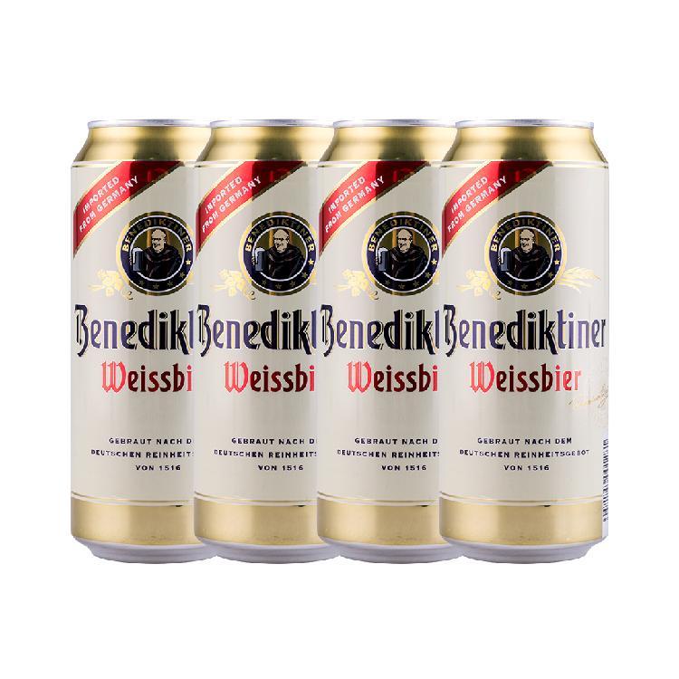德国 百帝王 小麦啤酒 500ML*4