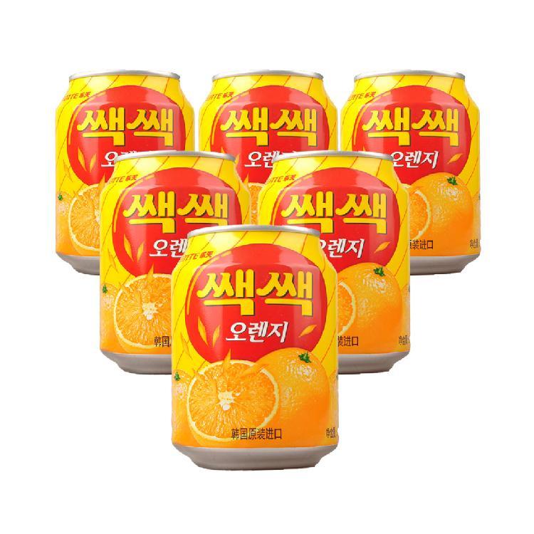 韩国 乐天橙汁果肉饮料238ml*6